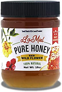 aLaMiel Raw Wild Flower Honey 100% Natural Local Pure Domestic Honey with Health Benefits Unheated, Unprocessed, Unfiltered Gluten Free   1 lb Made in USA   16 oz or 454 grams   Plastic Bottle