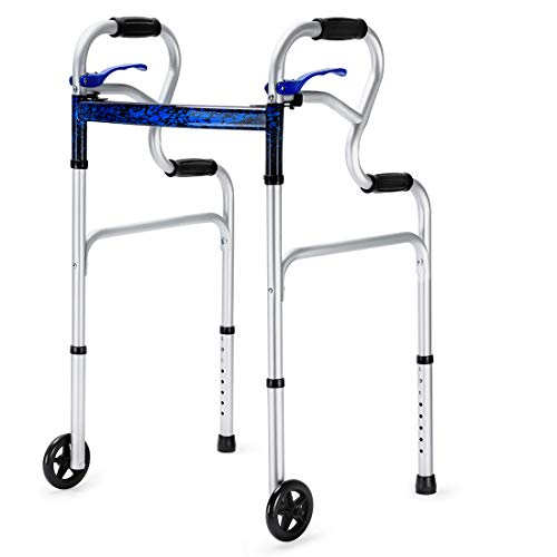 Health Line Massage Products 3 in 1 Stand-Assist Folding Walker with Trigger Release and 5' Wheels Supports up to 350 lbs, Compact Lightweight & Portable - w/Bonus Glides, Silver