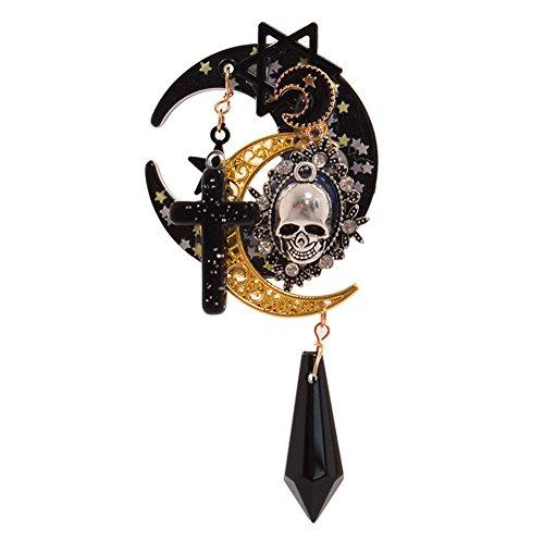 Lolita Trappings Gothic Mädchen Kreuz Pentakel Sterne Mond Totenkopf Haarspange Lolita Mädchen Kopfbedeckung Hut Clip Haarschmuck Vintage