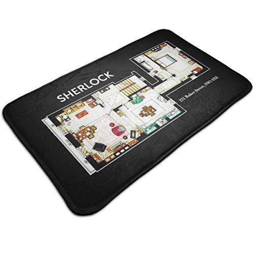 HUTTGIGH Sherlock - Alfombrilla antideslizante para piso de piso, para puerta de entrada, alfombra de baño de cocina, alfombra de piso de 19,5 x 31,5 pulgadas