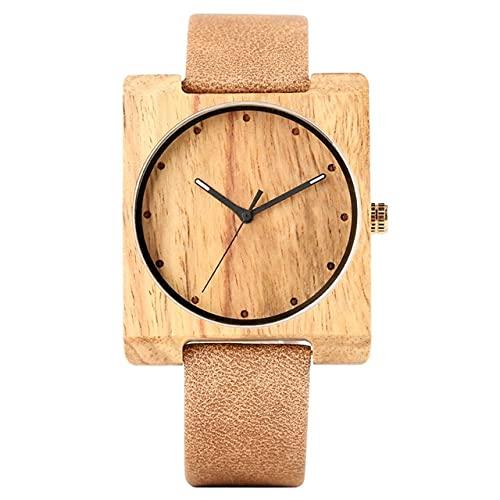 KUELXV Reloj de Pulsera de Madera Reloj de Madera con Esfera Cuadrada a la Moda, Reloj para Hombre, Correa de Cuero para Mujer, Reloj Unisex de Madera Ultraligero, Regalo para Hombres y Mujeres, ba