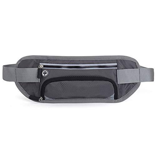 Cinturón de correr con soporte para botella de agua, correa elástica ajustable impermeable con gran capacidad, riñonera con orificio para auriculares, resistente al sudor para camping, escalada, senderismo, exteriores, para teléfono de hasta 6,6 pulgadas, gris