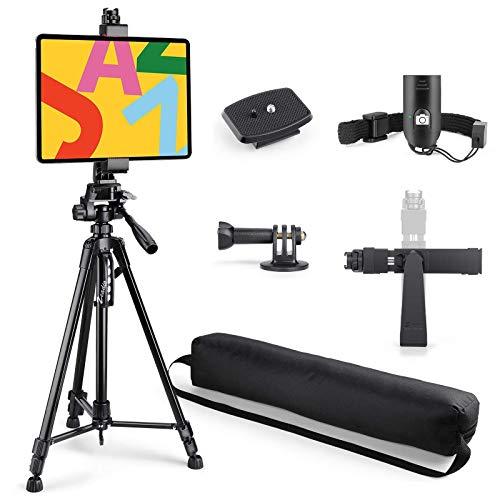 Zeadio Tablette Kamera Stativ, mit Stativhalterung und Bluetooth-Fernbedienung, passend für alle iPad, Microsoft Surface, Nexus und alle Tablets