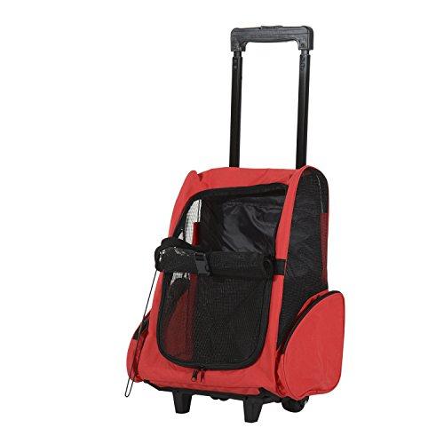 Pawhut Hundetrolley Transporttasche Tragetasche für Tiere 2in1 Rucksack und Trolley 35x27x49 cm rot