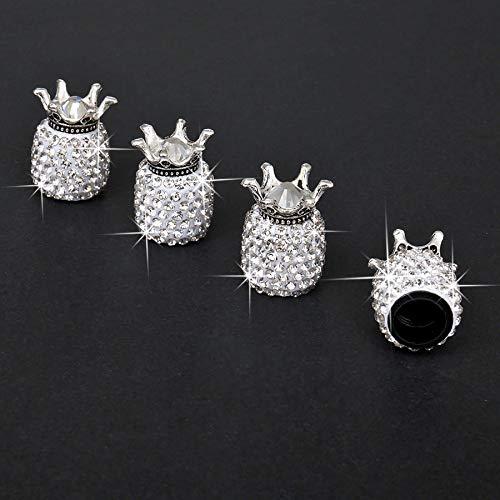 JUSTTOP Car Wheel Tire Valve, 4 Pack Handmade Crown Crystal Rhinestone Car Stem Air Caps Cover, Attractive Dustproof Bling Car Accessories, Universal for Most Vehicles-Crown White