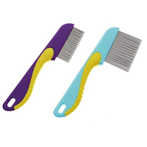 Oulensy 2ST blau Hund Katze Pet Flohkamm Trimmer Grooming Reinigung Haarbürste Shedding Werkzeuge