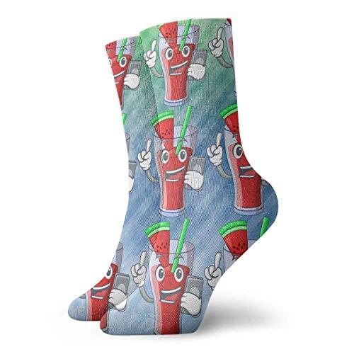 NGMADOIAN grappige gekke crew sokken karakter lekkere dranken fruit met telefoon gedrukt sport atletische winter warme sokken 30cm lang gepersonaliseerde cadeausokken