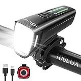 toptrek Fahrradlicht Set 100 Lux, 4 Beleuchtungsmodi Fahrradlicht LED, StVZO Zugelassen Fahrrad licht USB Aufladbar, Fahrradbeleuchtung mit Auto Modi und Type-C-Schnittstelle, Regenfest Fahrradlampe