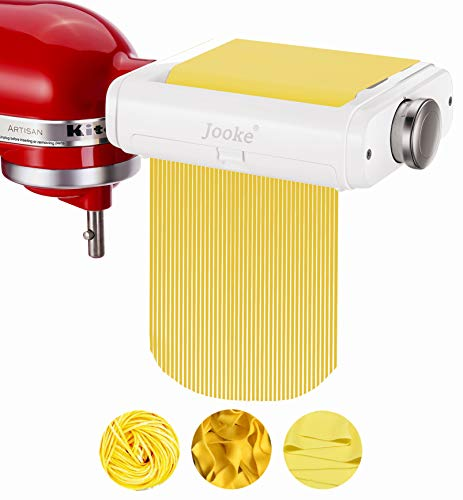 Jooke 3 in 1 Innovative Pasta Maker Attachment for KitchenAid Stand Mixers,Contains Pasta Sheet Roller Cutter Fettuccine Cutter functions