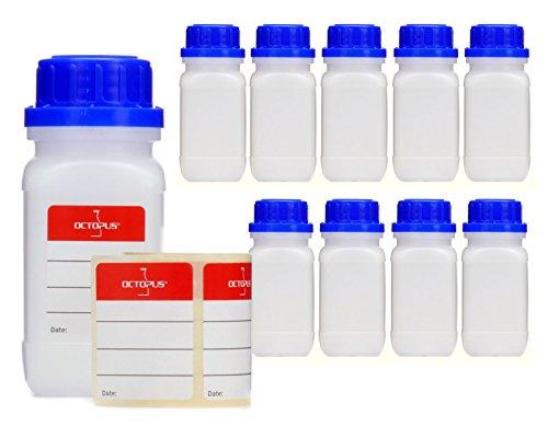 10x 5frascos de botellas con rosca de, química kalien Botella, laboratorio con tapa como recipiente de almacenamiento para laboratorio, cocina o Hobby, transparente, 10x 100 ml