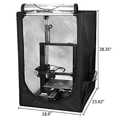 "Creality 3D Printer Enclosure, Printer Covers Constant Temperature Soundproof Dustproof Heating Tent for 3D Printing Room for Ender 3 / Ender 3 Pro/Ender 3S / CR-100 / CR 20 (18.9""x23.6""x 28.4"")"