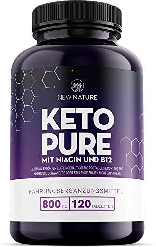 Keto Pure - Keto Burn Pillen mit Niacin, Vitamin B12, Grüntee und Cayennepfeffer - 120 Tabletten - Geeignet für Vegetarier & Veganer - 1 Monat Vorrat