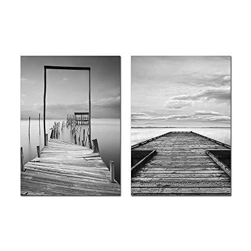 SHUTIAOQUN zwart-wit-landschapsschilderij houten piercing-brug-muurkunst print canvas schilderij Scandinavisch plakaat wandschilderijen voor woonkamer 50 * 70 cm * 2 frameloos