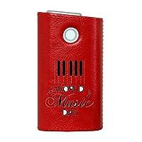 glo グロー グロウ 専用 レザーケース レザーカバー タバコ ケース カバー 合皮 ハードケース カバー 収納 デザイン 革 皮 RED レッド 音楽 ピアノ 音符 014797