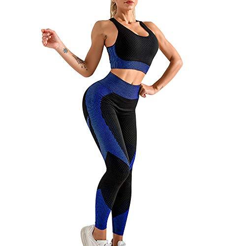 OEAK Damen Sportanzüge Jogginganzug Sport Sets Hosen und Crop Top 2 Stücke Bekleidungssets Yoga Outfit Freizeitanzug Sportswear