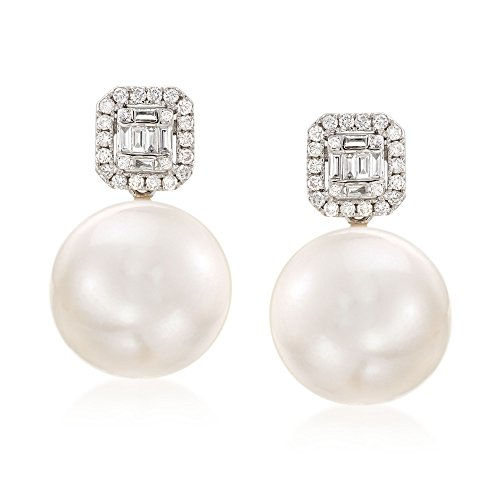 Ross-Simons 12-14mm Cultured Pearl and .42 ct. t.w. Diamond Earrings in 18kt White Gold
