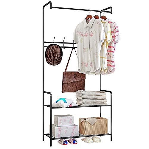 Garment Rack Entryway Coat Rack With Storage Shoe Rack Hallway Organizer 5 Hooks And 2-Tier Shelves,for Home Office Hallway Bedroom For Handbag Clothes Accessories