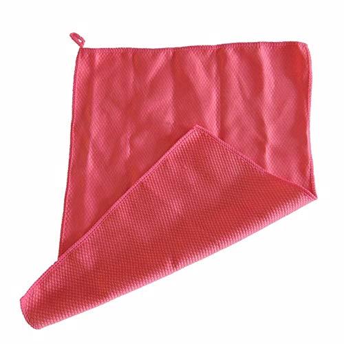XIAOBAOBEI 30 * 40 cm / 11,8 * 15,7 Pulgadas Toalla de Limpieza de Microfibra Vidrio absorbible Paño de Limpieza de Cocina Toallitas Mesa Ventana Coche Plato Toalla Trapo-Spain_Red