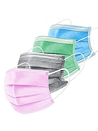 Mango People 100 Units Ultrasonic Disposable Breathable Pollution Face Mask with 3 Layer; (4 Different Color Each Color of 25 Free Size piece , Pack of 100, 3 Ply)