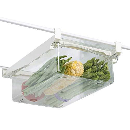 Organizador de cajones para nevera, retráctil, organizador para nevera, cajón ajustable, caja de almacenamiento para frutas y verduras (verduras)