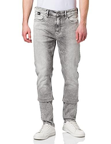 Calvin Klein Jeans Slim Taper Jeans, Gris Vaquero, 32W / 32L para Hombre