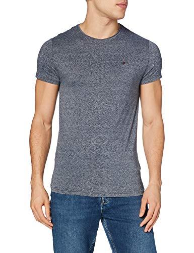 Tommy Jeans Herren Basic Knit Kurzarm Slim Fit T-Shirt Blau (Black Iris 002) X-Large
