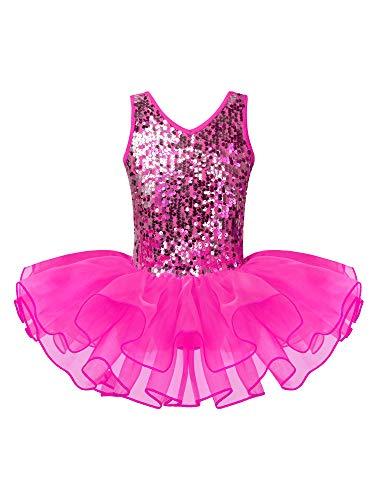 Agoky Maillot de Danza Ballet Tutú Vestido de Ballet Gimnasia Leotardo Lentejuelas Body Clásico para Niña Disfraz Fiesta Hallowen Actuación Rose_Red 9-10 años