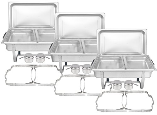 TigerChef Chafing Dish Buffet Set - Chaffing Dishes Stainless Steel - 3 Sets of Chafers and Buffet Warmer Sets with Half Size Steam Pans and Folding Frame- Food Warmers for Parties Buffets