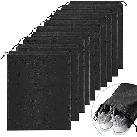 Ulikey Sacs à Chaussures de Voyage, Lot de 10 Organisateur de Chaussures de Voyage Housse Chaussures Noir Imperméable Anti-poussière Rangement pour Voyage Sport