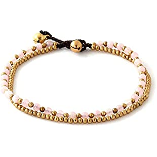 MGD, Pink Rose Quartz Color Bead and Brass Bell Anklet. 2-strand Anklets Beautiful Handmade Brass Anklet. Small Anklets. Ankle Bracelet. Fashion Jewelry for Women, Teens and Girls, JB-0264A