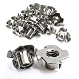 Stainless T-Nuts, 1/4'-20 Inch, (25 Pack), Threaded Insert, Choose Size/Quantity, by Bolt Dropper, Pronged Tee...
