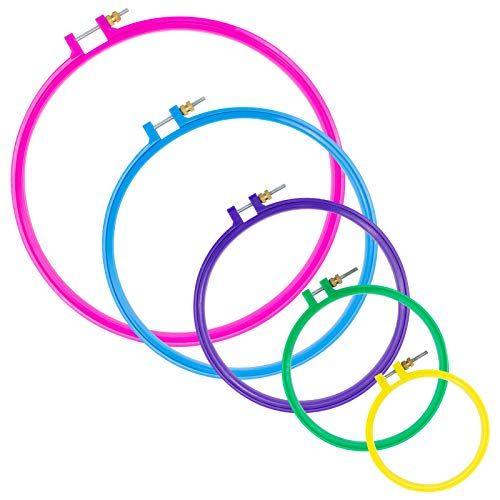 5 Pieces Embroidery Hoop Set Cross Stitch Hoop for Stamped Cross Stitch Kits Multiclolor Plastic Cross Stitch Frame Kit
