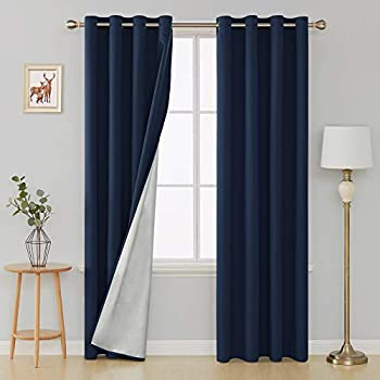Deconovo Thermal Insulated Blackout Curtains Grommet Room Darkening Energy Efficient Panel Drapes with Silver Coating Back for Kids Bedroom 52W x 84L Inch Navy Blue 2 Panels