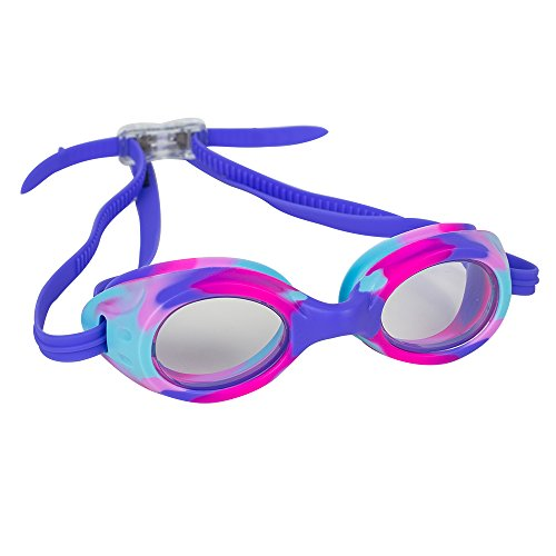 Kids Swim Goggles for Boys and Girls - Adjustable Straps, Silicone Eye Seal, UV Protection and Anti Fog Lenses Swimming Goggle - by Splaqua (Purple)