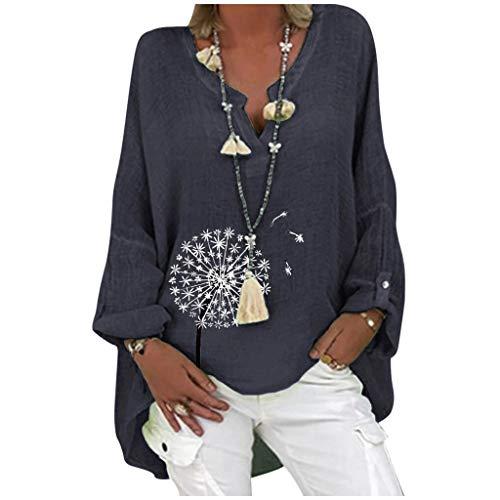 Plus Size Tops for Women Dandelion Printed Blouse Cotton & Linen Breathable Light Shirt V-Neck Casual Tunic (XXL, Navy)