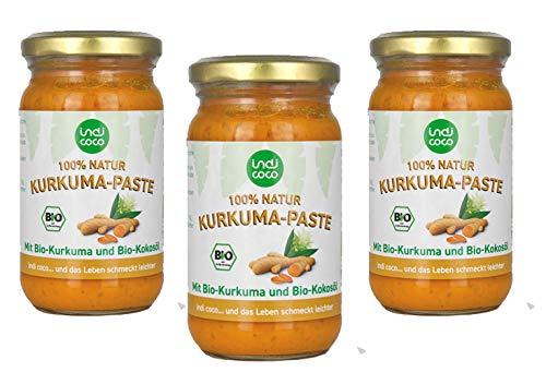 3 x 200g Kurkuma Paste 100% Natur mit Bio Kurkuma und Kokosöl von Indi Coco