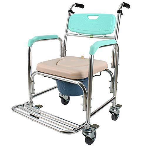 WANGXN Silla con WC Y Ruedas, Inodoro portátil con Ruedas, Silla de Inodoro o Silla de Inodoro para discapacitados, discapacitados, Personas Mayores, fácil traslado Lateral