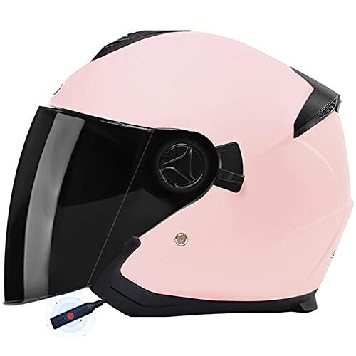ZLYJ Casco Protector De Moto De Cara Abierta, Medio Casco De Moto Jet Bluetooth con Visera Solar Doble Aprobado por ECE Adecuado para Motociclistas Cruiser Scooter Touring I,54-59cm