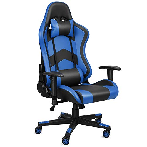 OKVAC Gaming Chair, PU Leather Ergonomic High Back Swivel Office Recliner, PC Racing Style Computer Desk Executive Seat, Height & Backrest Adjustable, with Headrest, Lumbar Support (Blue)
