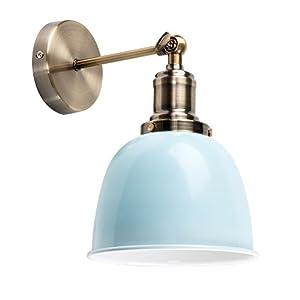 MiniSun – Aplique de Pared Vintage – Brazo Orientable – Latón Antiguo y Pantalla en Blanco Brillante – Lámpara de pared…