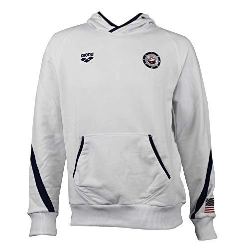 ARENA Unisex-Erwachsene Official USA Swimming National Team Hoodie Sweatshirt Hemd, Weiß-Marineblau, Medium