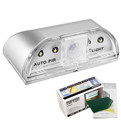 Ren He センサーライト 鍵穴ライト 小型 電池式 人感センサー LEDライト 3w 4LED 高輝度 簡単設置 自動点灯 クローゼット/キッチン/玄関/階段/寝室/本棚 屋内照明などの場所に適用 3M両面テープ付き (シルバー)