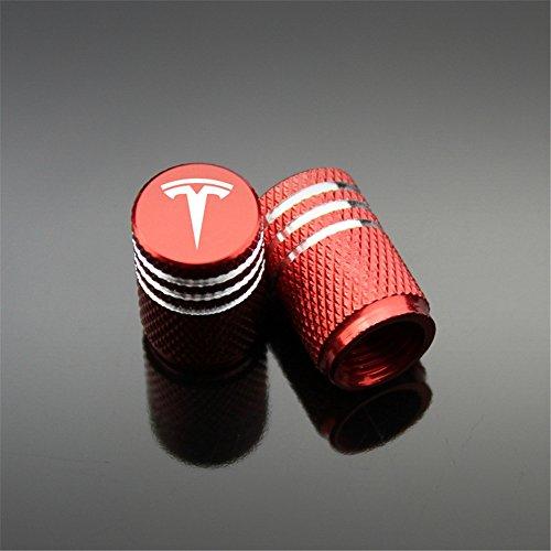 Qingtech Aluminium Tyre Valve Caps for Tesla Car Modification 4pcs/Set