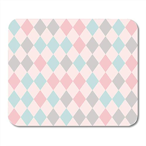 Mouse Pads Colorful Pattern Rhombus Retro Geometric Diamond in Pink Green Gray Colors Teal Harlequin Mouse Pad Mats 9.5