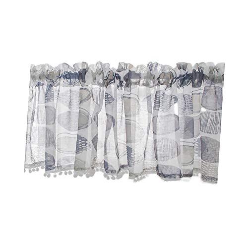 LQZQ Visillos Cortos Simple y Nebulosa Azul Gris Gasa Impresa Cortina Corta Bola de Pelo Adornada Media Cortina Estilo Industrial Moderno Abstracto