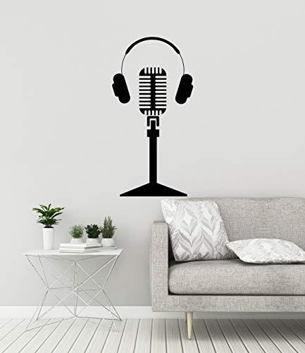 Microfoon koptelefoon vinyl muursticker muziek muziek decor idee karaoke bar sticker wandafbeelding 3127di