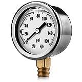 Renator M11-0504T Oil-Filled Water Pressure Gauge. 0-160 PSI. 1/4' NPT.