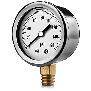 Renator M11-0504T Oil-Filled Water Pressure Gauge 0-160 PSI 1/4  NPT.