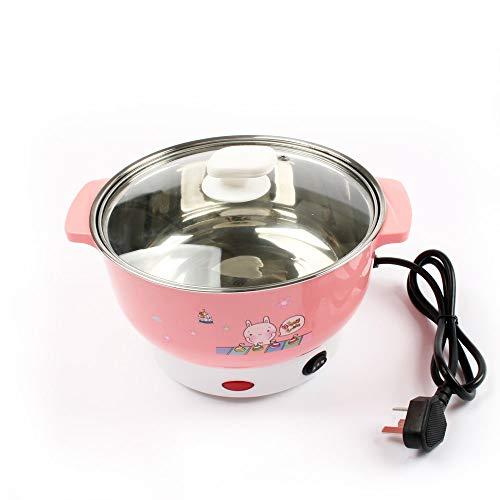 Multifunctionele elektrische kooktoestel mini roestvrij staal verwarmingsplaat pasta rijst, stoompan eieren stoompan soeppan 2L EU VS Roze