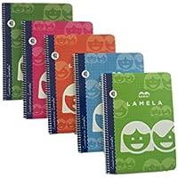 Cuadrovia Lamela 07004 cuaderno espiral, colores surtidos, A5/40 H, 4mm, 10 unidades, Tamaño Pequeño